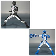 Bandai SH Figuarts Mighty Morphing Power Rangers Operation Overdrive Black Ranger and Blue Ranger Action Figure