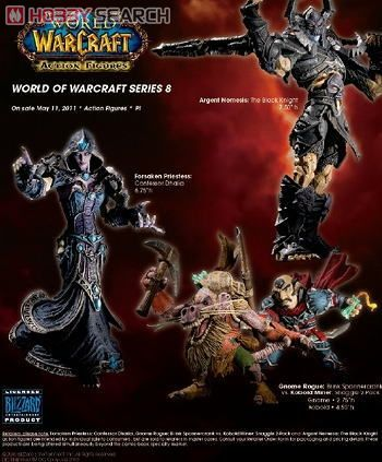 World of Warcraft Series 8 The Black Knight, Forsaken Priestess Confessor Dhalia, Gnome Rogue Brink Spannercrank & Kobold Miner Snaggle Action Figures